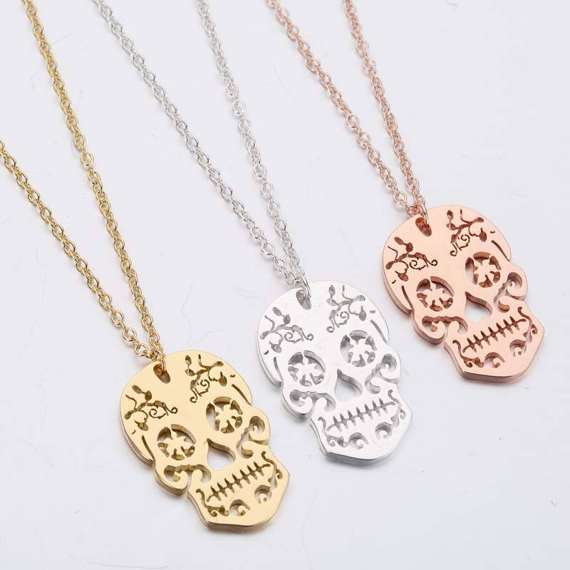 Vintage Skeleton Pendant Necklace Ethnic Skull Necklaces Choker Mexican Skull Jewelry Halloween Gifts