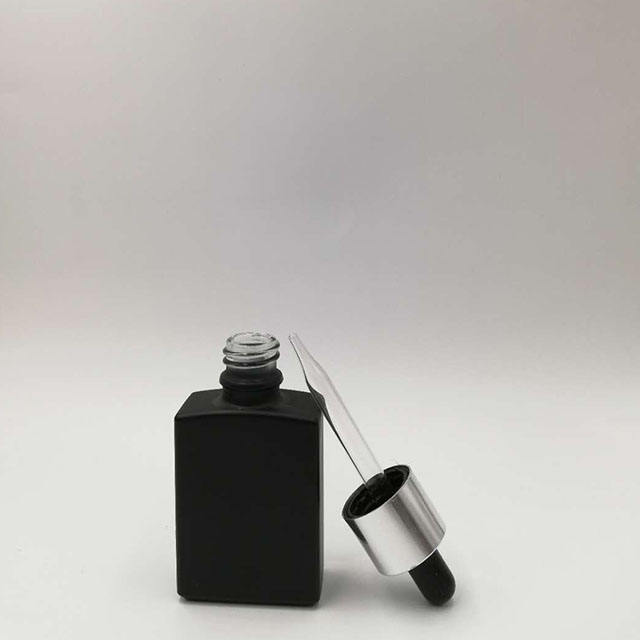 Lechan new 15ml 30ml Toning lotion makeup glass bottle 10ml black rectangle dropper bottle with silver cap