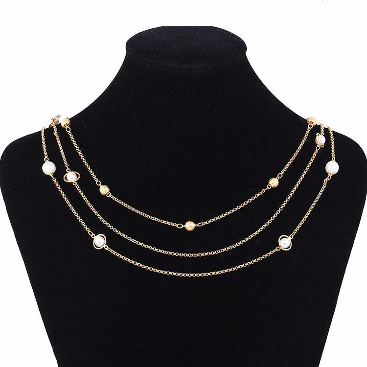 42813 Wholesale Women 18k Gold Pearl Artificial Jewellery Chain Necklace