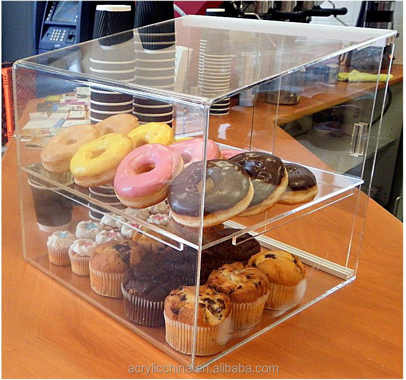 Shop donut display case, Self service clear acryl donut pastry display case
