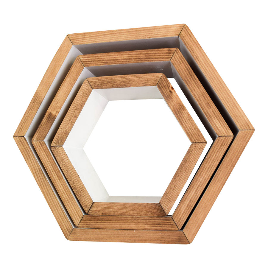 Wall Mounted Shelves Floating Hexagon Mirror Shelf