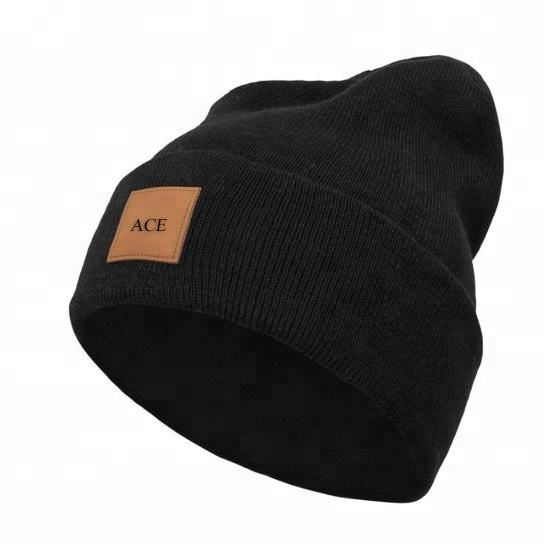 Mens custom beanie leather patch wholesale plain knitted beanie skull cap,beanie hats