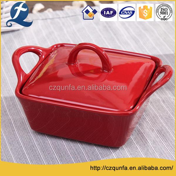 Красочные четыре слоя ручка керамическая посуда противень с крышками