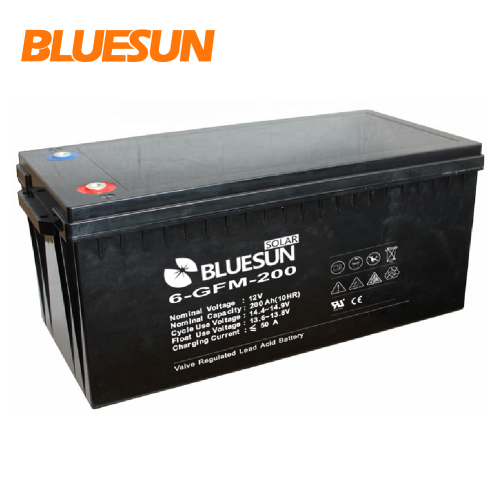 Bluesun deep cycle battery solar gel battery 12v 200ah 24v 200ah solar battery