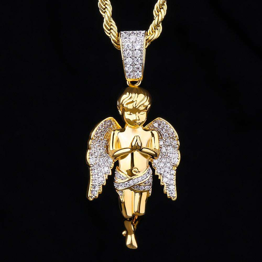 KRKC&CO Hip Hop Jewelry Mens Necklace Pendant 14K Gold Iced Out Guardian Angel Pendant