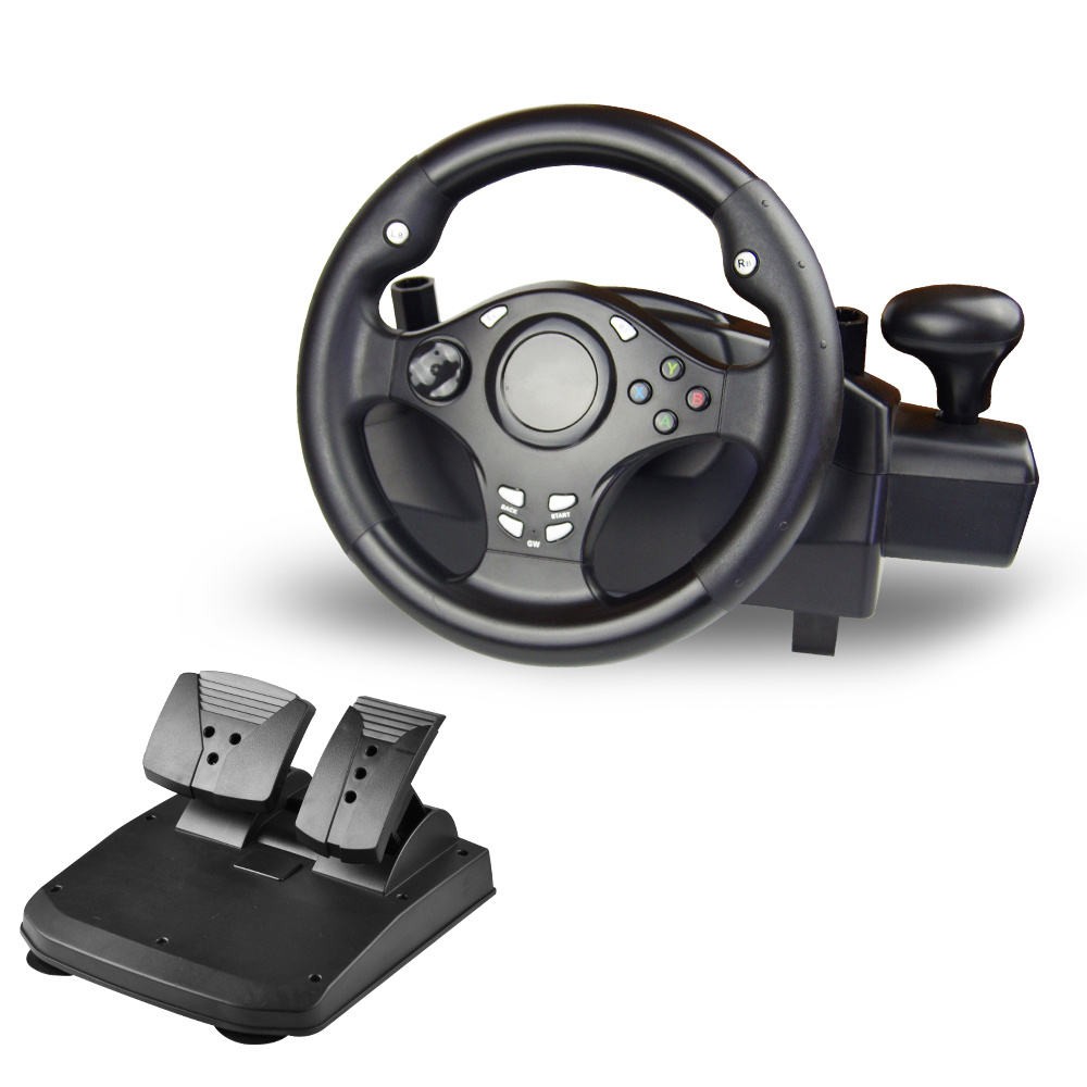 China Wholesales 7in1 USB Racing Game Steering Wheel Gamepad