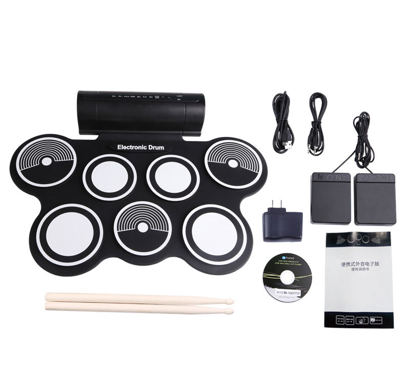 Roll-Up Drum Kit dengan Speaker Pedal Kaki, Stik Drum, dan Micro USB Port untuk Power Dilipat Portable Electronic Drum Set
