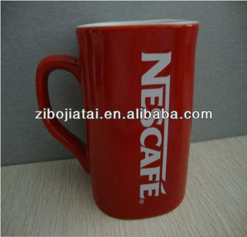Red Glazed Nestle Coffee Mug