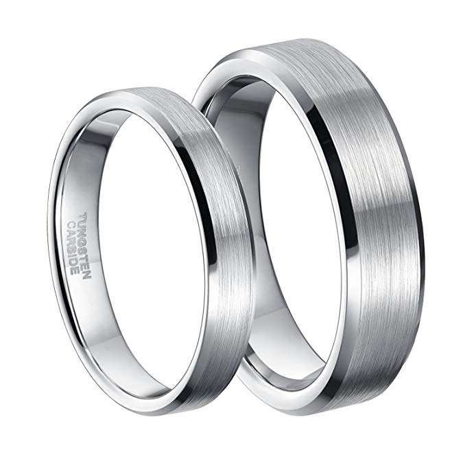 4mm 6mm Tungsten Carbide Ring for Men Women Comfort Fit Beveled Edge Brushed Silver Wedding Band Size 4-14