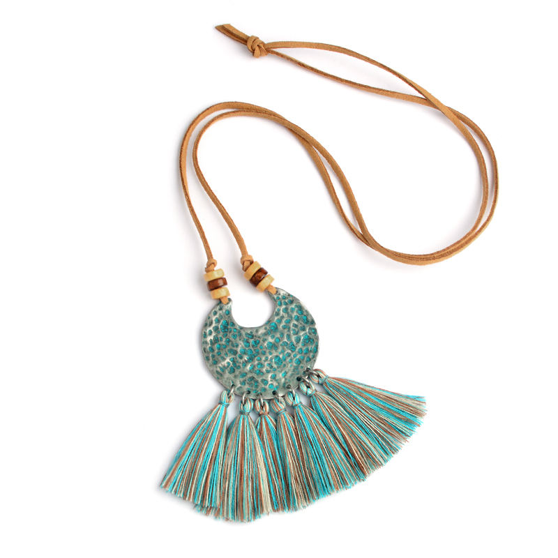 Bronze wood beads Wool tassels pendant necklace Vintage Fashion Long leather chian Bohemian BOHO jewelry