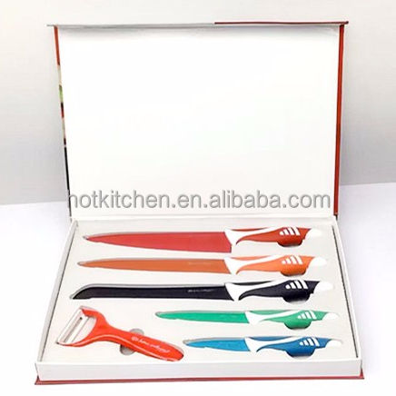 Harga Warna-warni-Non Stick Coating 6 Pcs Royal Swiss Line Pisau Dapur Set