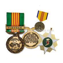 military style gravity casting hard enamel antique gold bronze plating vietnam service war campaign medals and ribbon