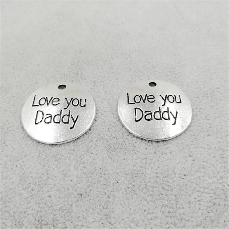 round shape cute Baby metal LOVE YOU DAD charm for Father's day