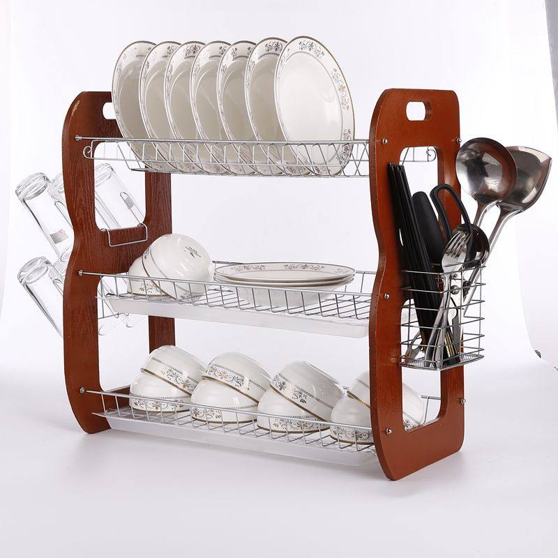 China Manufacture 3 Tier removable Household Kitchen wooden & metal Wire material Dish Rack for Storage bowl tableware