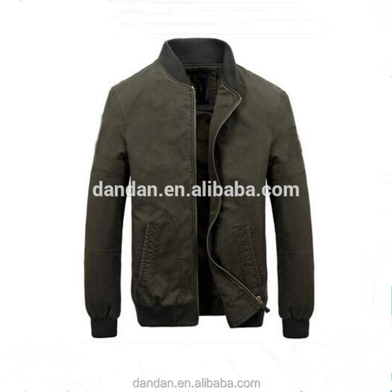 Army green nylon satin bomber jacket for men's