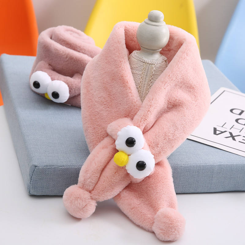 Autumn winter kids big eyes cartoon warm plush scarf
