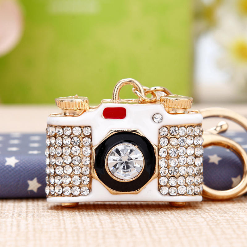 New fashion mini keychain rhinestone camera shaped keychain