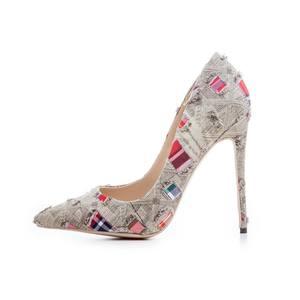 custom ladies pumps dark and light blue denim pointed toe shoes womens high heels for ladies