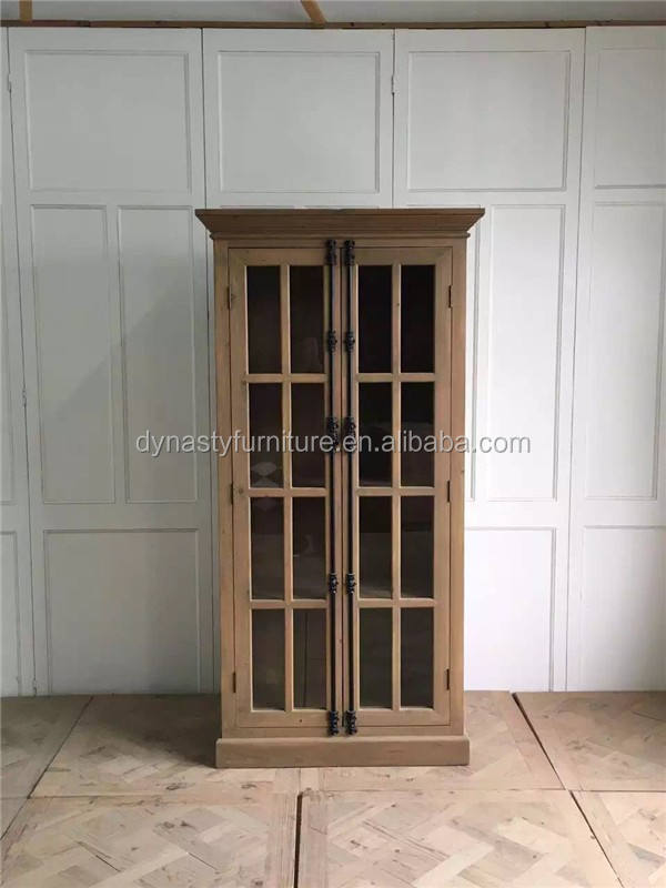 wooden reproduction antique bookshelf with glass door