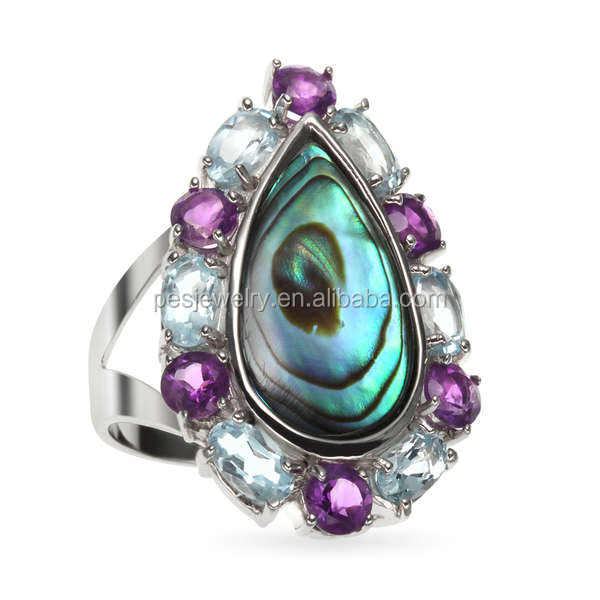PES Fashion Jewelry! 18x9mm Oval Natural Abalone Paua Shell, Amethyst CZ and Blue Topaz Ring (PES6-1709)