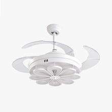 Modern 42'' invertible retractable folding blades ceiling fan with LED light chandelier