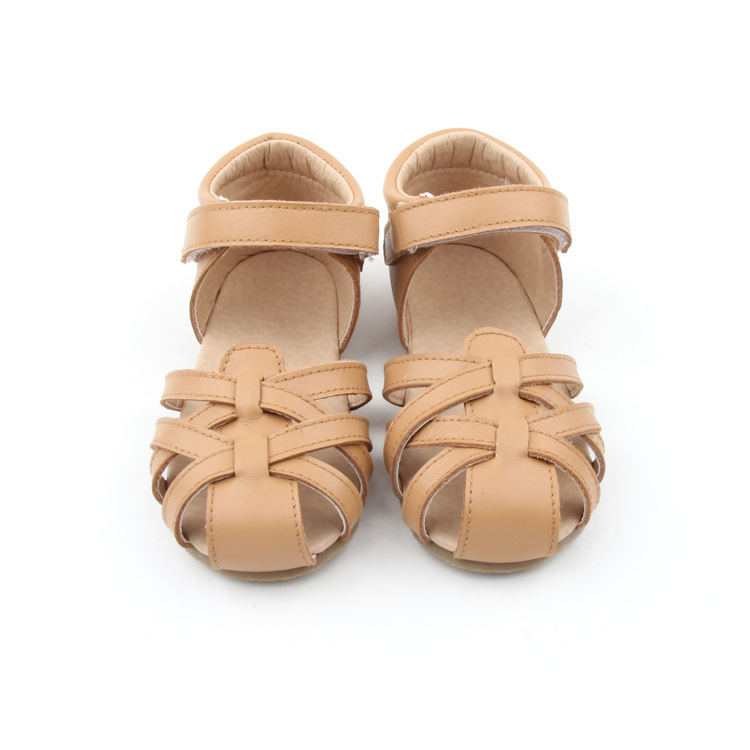 2019 Factory Price Brown Color Sandals Kids Hard Sole Leather Children Shoes