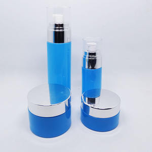 Logo printing color painting glass cosmetic bottle set with aluminum pump cap