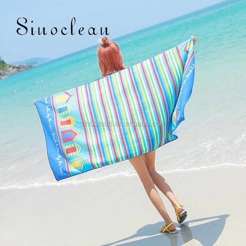 Square [ Towel Printing ] Embossing Print Towels Beach Wholesale Quick Dry Turkish Blue And White Stripe Beach Towel With Printing