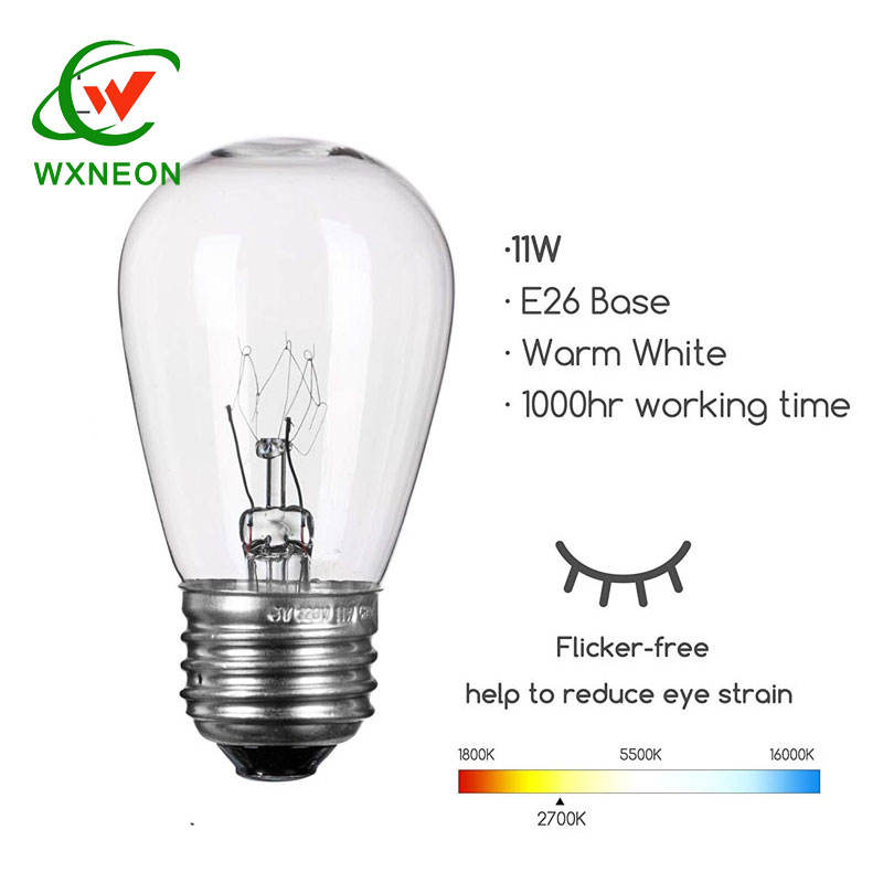Outdoor 130V 11W S14 Clear Edison Bulb Replacement For Patio String Lights