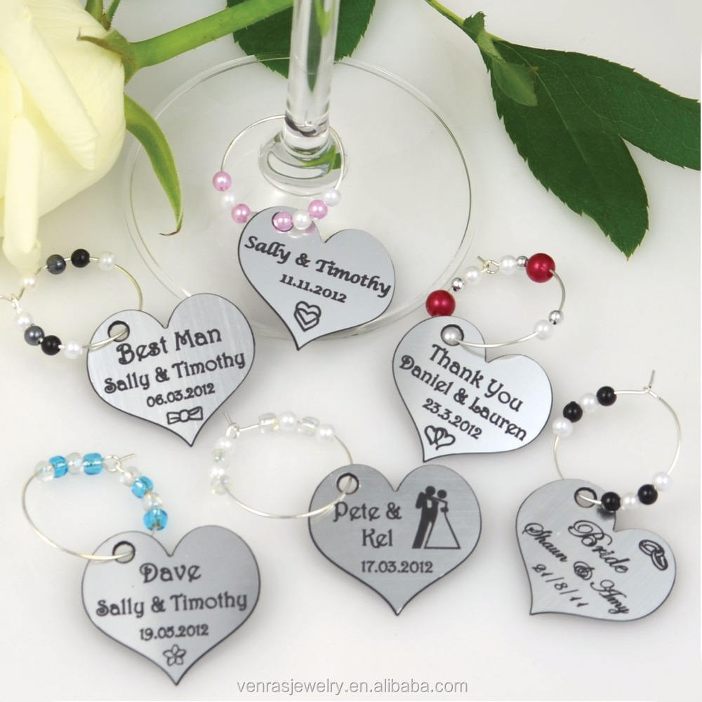 Promotional Gifts Heart Shaped Wedding Wine Glass Charms for Party Anniversary Souvenir Gifts