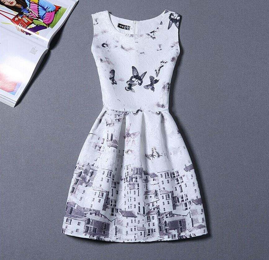 Seller factory walson C71378A Casual Dress House Pattern Print Party White Dress Sleeveless O Neck Mini Summer Women Dr