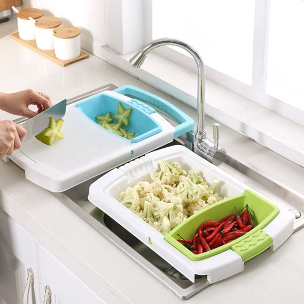 2020 Kitchen New Design Creative Multifunction Chopping Board Water Drain Storage Basket Plastic Cutting Board With Strainer