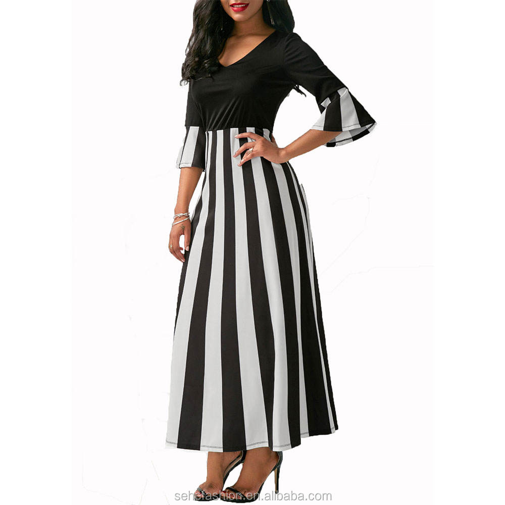 80307-MX1 Hot sale western style Black and white stripes dress for women