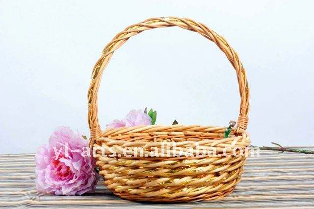 golden willow wicker christmas basket with handle