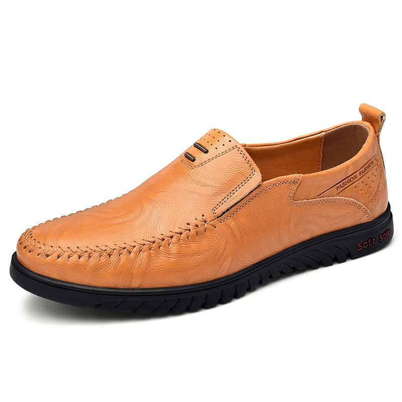 Best selling men's shoes comfortable flat shoes cheap quality good casual leather shoes