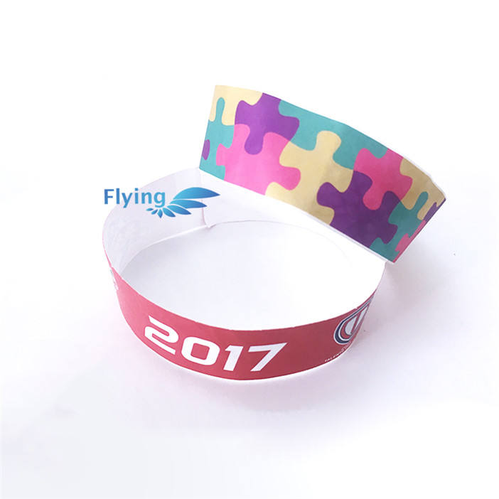 Uso una Volta Impermeabile A Getto D'inchiostro Stampato Carta Tyvek Wristband/Braccialetto/Fascia Per Eventi/Hotel/Movie