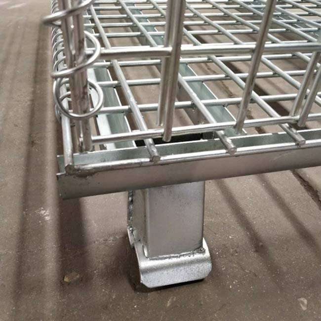 High quality collapsible storage steel cage wire mesh container with wheels