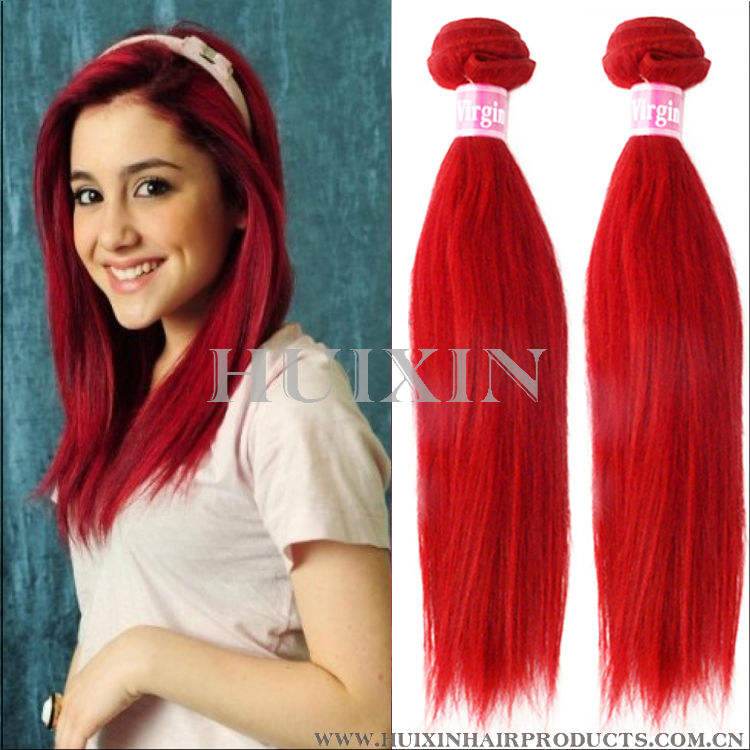 Red indian remy Hair weave,Red wine Hair Color