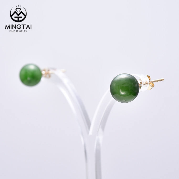Beautiful design 925 silver green jade ball stud earrings