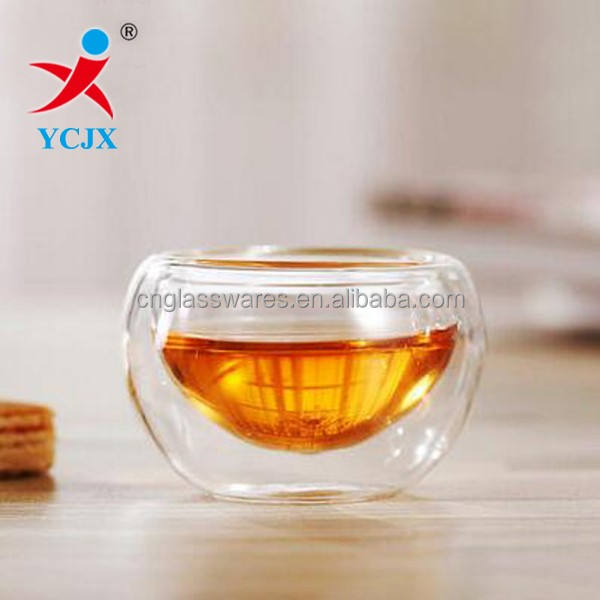 Hand Made 50ml Small Size Double Wall Glass Tea Cups