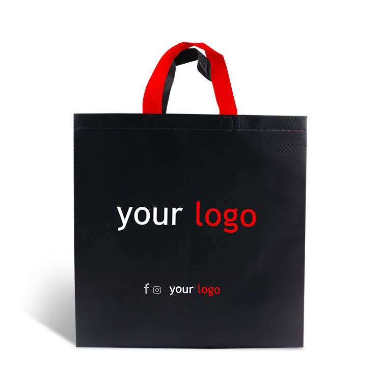 (High) 저 (quality 부티크 black luxury pp 적 층 비 짠 fabric 포장 shopping bag 와 handle 및 custom printed logo