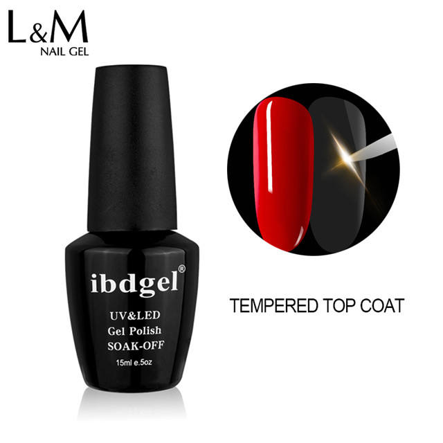 L & M ibdgel high gloss glaze nail polish gel uv temperato non pulire top coat