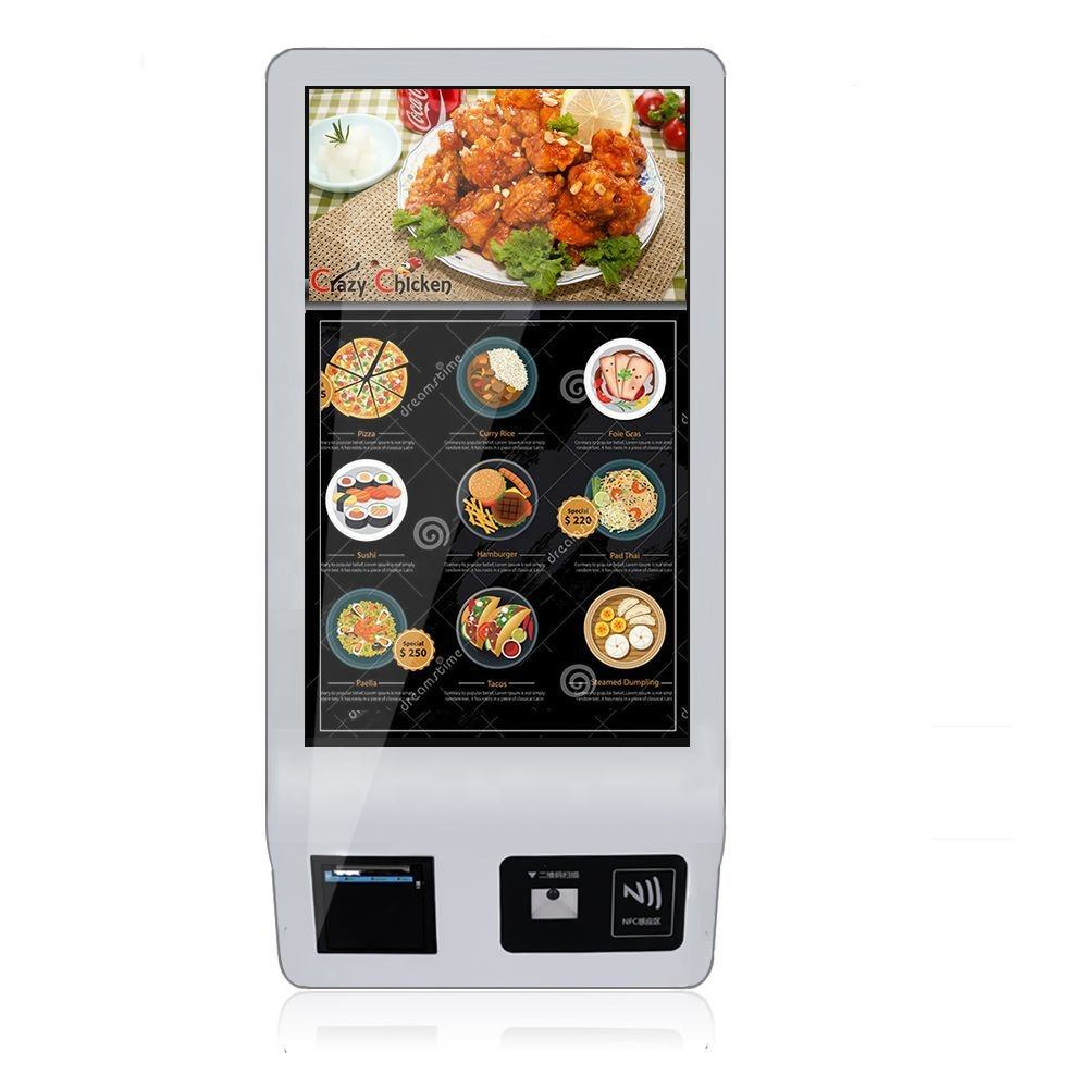 24-32 inch all in one Android/window touch screen self ordering payment kiosk with Barcode scanner/thermal printer/POS machine