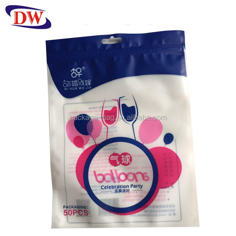 pp hanger laminated ziplock plastic balloon packaging bag