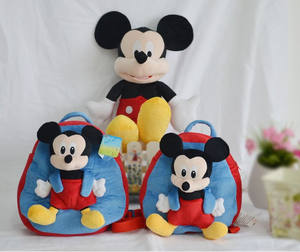 Hot sale famous custom cute mickey plush kid's backbag