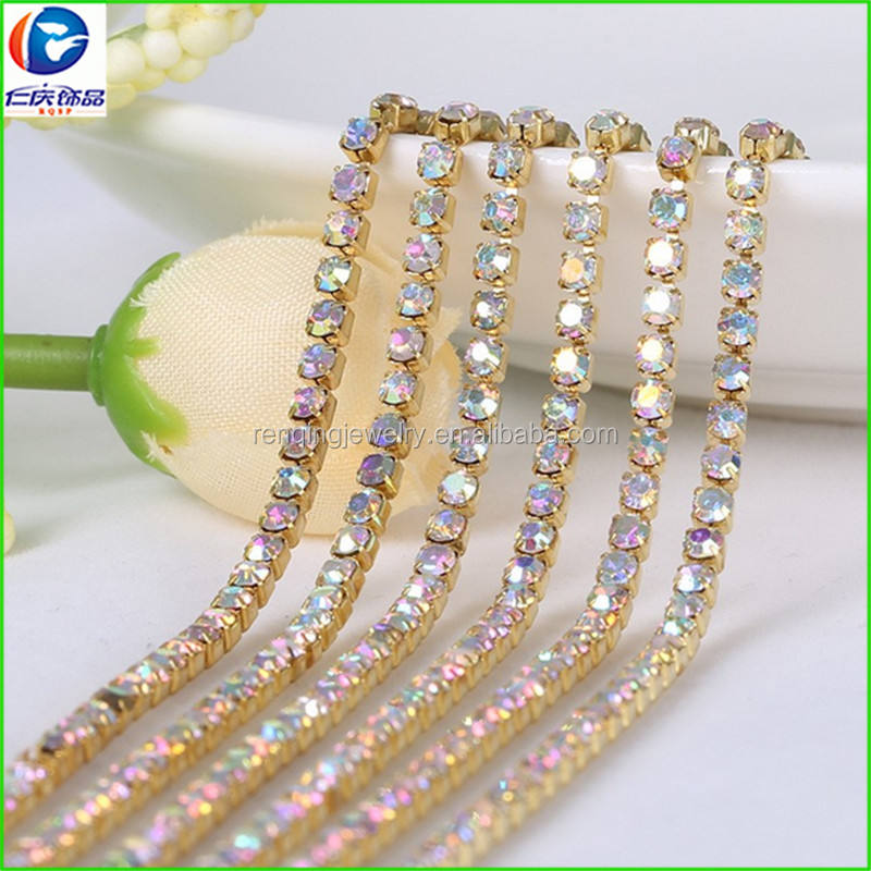 Machine Cut Chaton Cup Chain String / Strass Rope,Roll Of 10 Yard A+ Grade Crystal/ Rhinestones /strass Chain Trimming