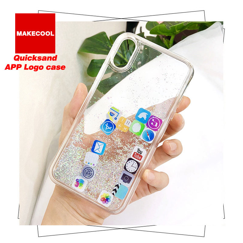 Quicksand APP logo Mobile Desktop Icon shimmering powder soft TPU phone case For iPhone 6/6S/7/8 Plus/X/XS/XR/XS MAX