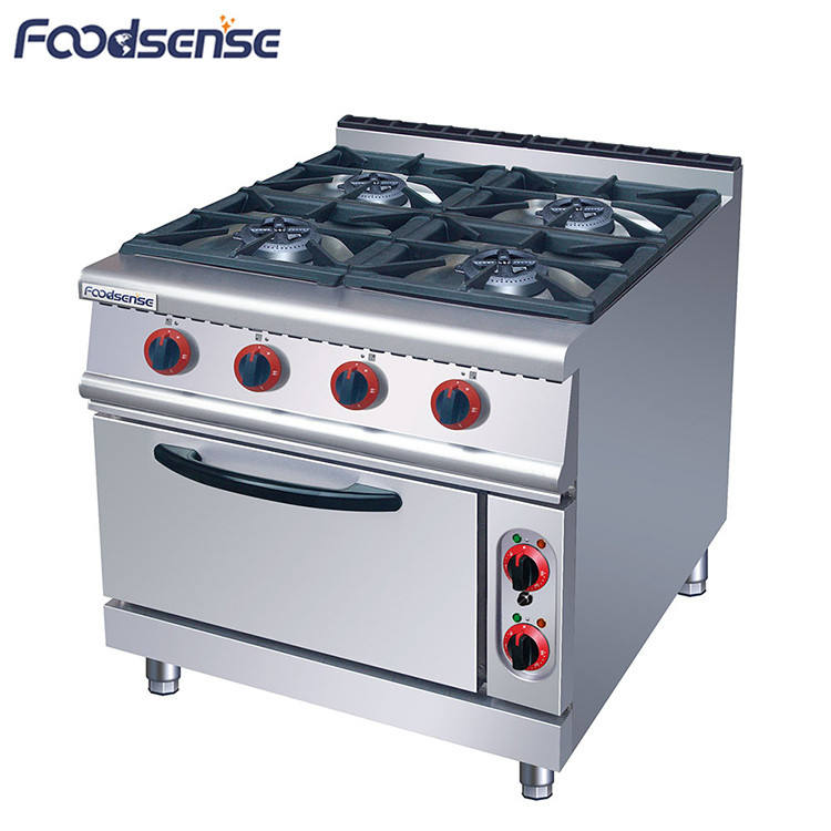 Commercial kitchen 4 burner freestanding gas stove with oven, industrial lpg burner cooker gas stove