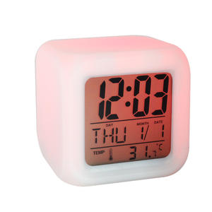 Promotion Gift Modern Large Screen 7LED Colorful Changing Cube Digital Table Calendar Alarm Clock