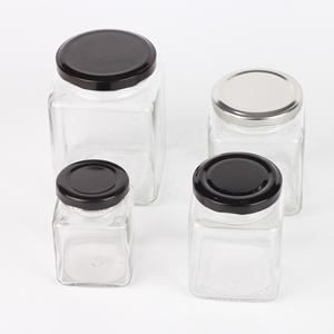 Clear glass mason jar of square shape